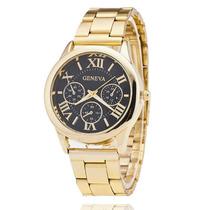 Relógio Feminino Dourado Ouro Barato Promoção Importado Moda