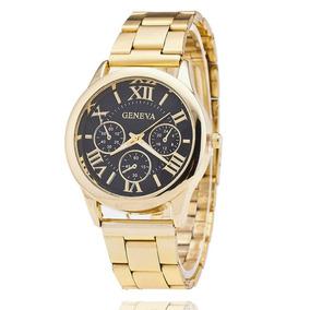 Relógio Feminino Dourado Comprar Promoção Fundo Preto Grande
