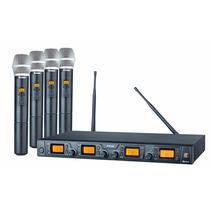 Microfone Sem Fio Quad Uhf Staner Srw 48q Digital