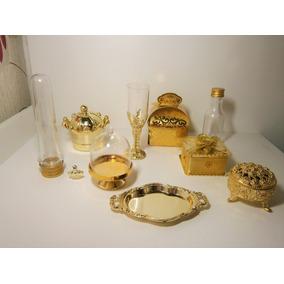 Kit 120 Dourado Ostentação Coroa Porta Joia Caixinhas Festa