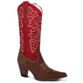 Bota Country 100% Couro Crazy Horse Texana Lady Silver
