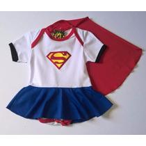 Body Saia Fantasia Super Girl Para Bebês