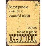 Carteles Chapa, Deco Vintage Frases Place Beautiful Deco 084