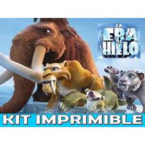 Kit Imprimible La Era De Hielo Cumples Tarjetas Candy Bar