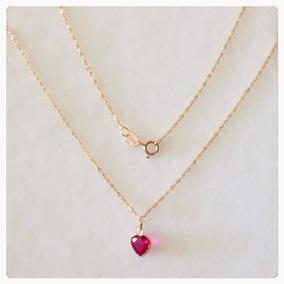 Corrente 50cm Cordão E Coração Vermelho Rubi De Ouro 18k
