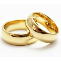 Par Alianças,tungstenio Banhada A Ouro 24k