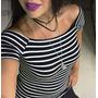 Blusinha Ombrinho Listras Coladinha Manguinha Moda 2017