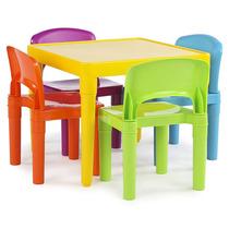 Tot Tutores Niños Mesa Plástico 4 Sillas Set Colores Vibrant