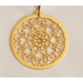 Mandala Personalizada Coração Banhada Ouro 18k