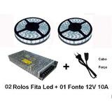 Kit 10m Ultra Fita Led 5050 Branco Frio + 01 Fonte 10a +cabo