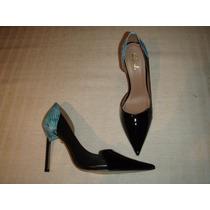 Zapatos Gacel De Cuero Y Charol Nº 37. Pitón Celeste