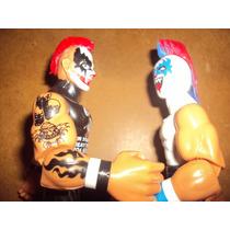 Lote 2 Luchadores Psycho Clown Vs Pagano Muñecos Patones