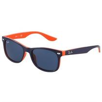 Óculos De Sol Ray Ban New Wayfarer Infantil Azul E Laranja
