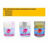 Pó Comestivel Decorativo P Doces: Dourado / Prata / Perolado