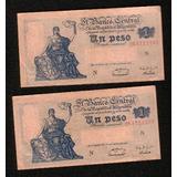 Dos Billetes Correlativo De 1 Peso Ley 12962 Serie N -s.c
