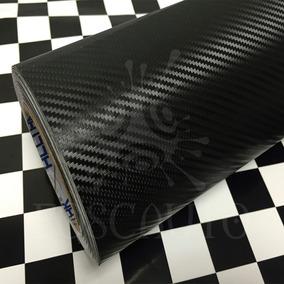 Adesivo Vinil Fibra Carbono 3d Envelopamento Preto 3m X 34cm