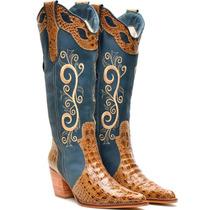 Bota Feminina Country Texana Capelli Boots Couro Croco Zipe