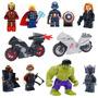 Kit C/ 8 Vingadores + 2 Motos Miniaturas Lego Compatível V10