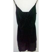 Vestido De Noche Corto Negro Bretel Con Apliques