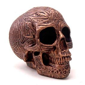 Caveira Cranio Bronze Inca Decorativo Resina Frete Gratis