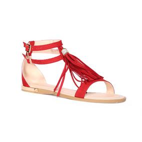 Trender Sandalia Flat Color Rojo Con Pompón De Flecos