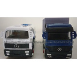 Kit 2 Miniaturas Caminhão Tanque+baú Mercedes Benz Welly