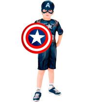 Fantasia Do Capitão America Infantil C/ Escudo Vingadores 2