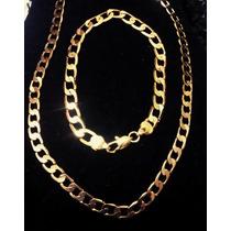 Corrente Cordão+pulseira Masculino Aço Inoxidável Dourado