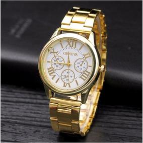 Relógio Feminino Dourado De Luxo Marca Geneva Aço Inoxidável
