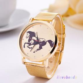 Hermoso Reloj Dorado Con Caballo