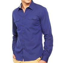 Camisa Dkny Azul Manga Larga Chica 100% Algodón