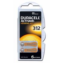 6 Pilhas Baterias A312 Pr41 Aparelho Auditivo - Duracell