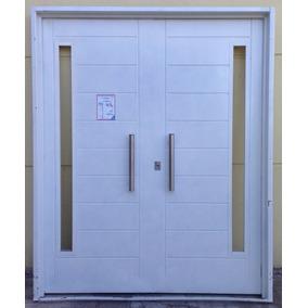 Puerta doble hoja exterior chapa aberturas puertas - Puerta corredera doble hoja ...