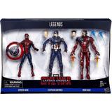 Marvel Legends Civil War Spiderman, Iron Man, Capitan Pack