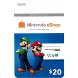 Nintendo Eshop Card Tarjeta Prepago Codigo Digital 20 Usd