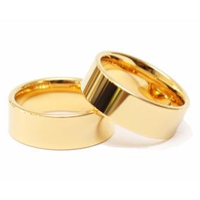 Par De Aliança Ouro Banhada 18k Casamento Reta 8mm