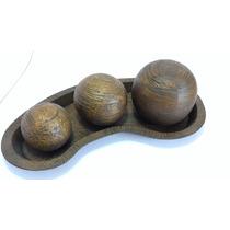Presente Enfeite Para Mesa Bandeja Decorativa Com 3 Bolas