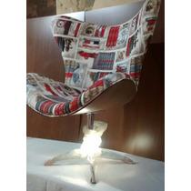 Poltrona Giratoria Mini Egg Pé Aluminio Sala Cadeira Armazem