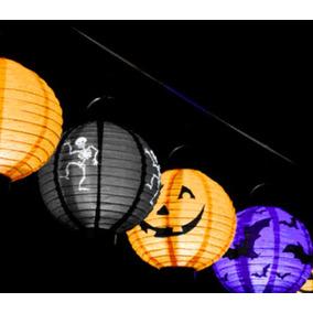 Halloween Lote 02 Piezas Farol Lámpara Luz Led Baterías