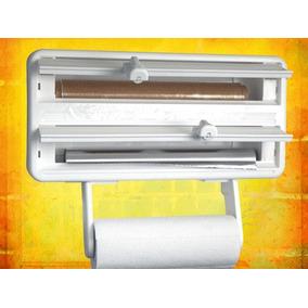 Porta Rolos Prático Para Cozinha 3 Em 1 Toalha Alumínio Pvc