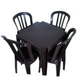 Conjunto De 1 Mesa Monobloco Quadrada E 4 Cadeiras Bistrô