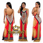Vestido Largo Azteca Verano Seda Fria Importado Art 3913