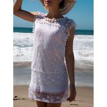 Crochet Playa Vestido Corto Noche Trasluce Solera Sin Mangas