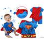 Fantasia Super Homem Com Capa, Macacão Super Herói Carnaval