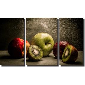 Quadro Decorativo Frutas 3 Peças Para Sala E Cozinha