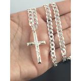 Corrente C/ Crucifixo Prata Maciça 925 Grumet Masculina 70cm