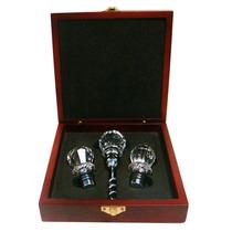 Tapon P/ Vino 3 Pzas, Cabeza Tipo Diamante En Caja De Madera