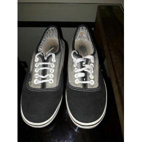 Zapatillas Vans Talle 35.5 Lona Gris Y Negro, Usadas