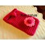 Portalentes Funda Celular Con Flor Y Ojal - Tejida A Crochet