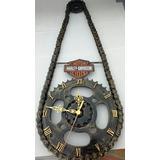 Relógio De Parede Artesanal Harley Davidson Reciclagem